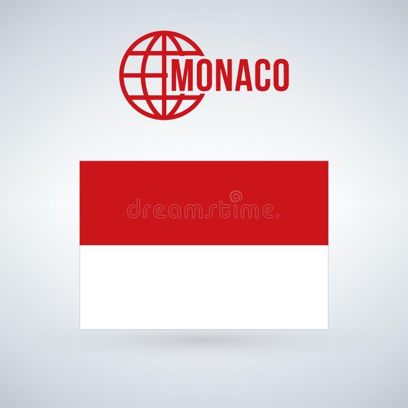 Monaco flaggaillustration som isoleras på modern bakgrund med skugga stock illustrationer