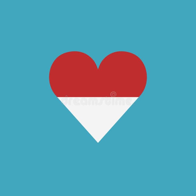 Monaco flaggasymbol i en hjärtaform i plan design stock illustrationer