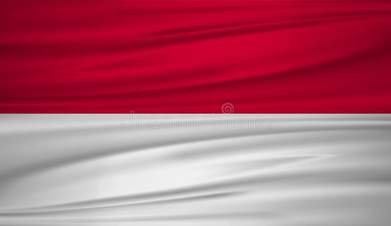 Monaco flaggavektor Vektorflagga av Monaco blowig i vinden royaltyfri illustrationer