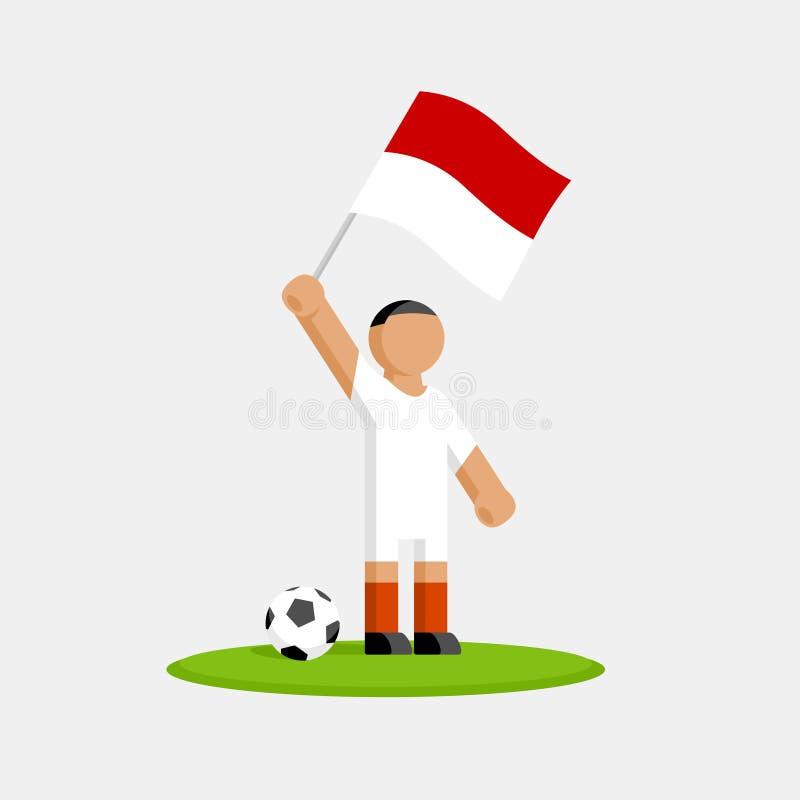 Monaco fotbollspelare i sats med flaggan royaltyfri illustrationer