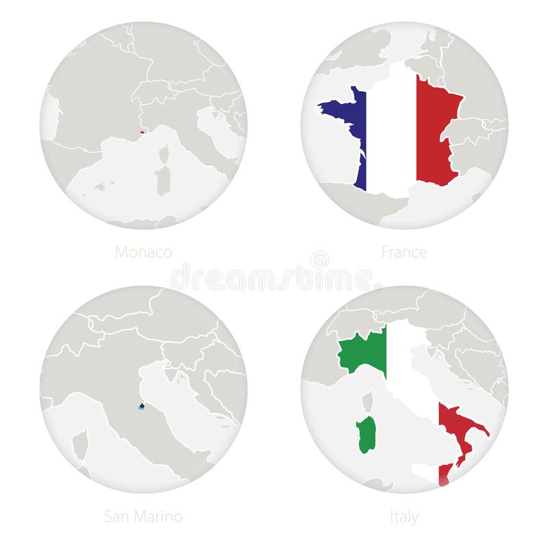 Monaco, France, San Marino, Italy map contour and national flag in a circle vector illustration