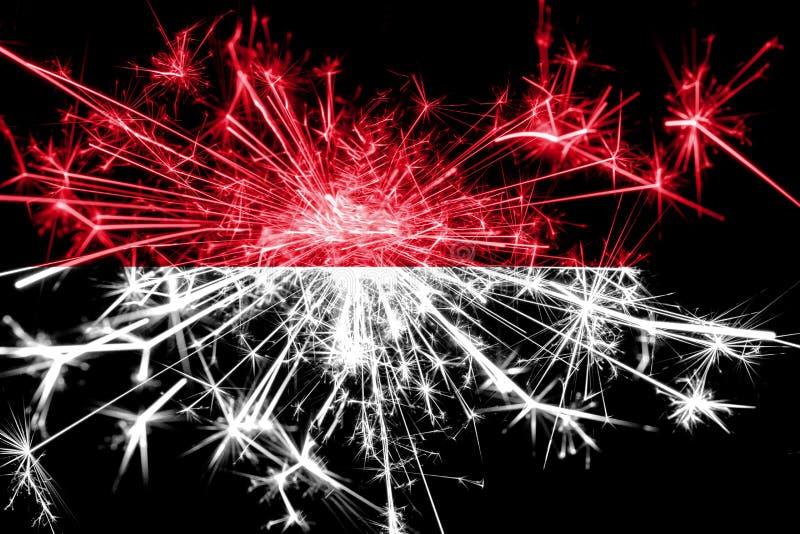 Monaco fyrverkerier som mousserar flaggan Partibegrepp för nytt år 2019 och jul royaltyfri illustrationer