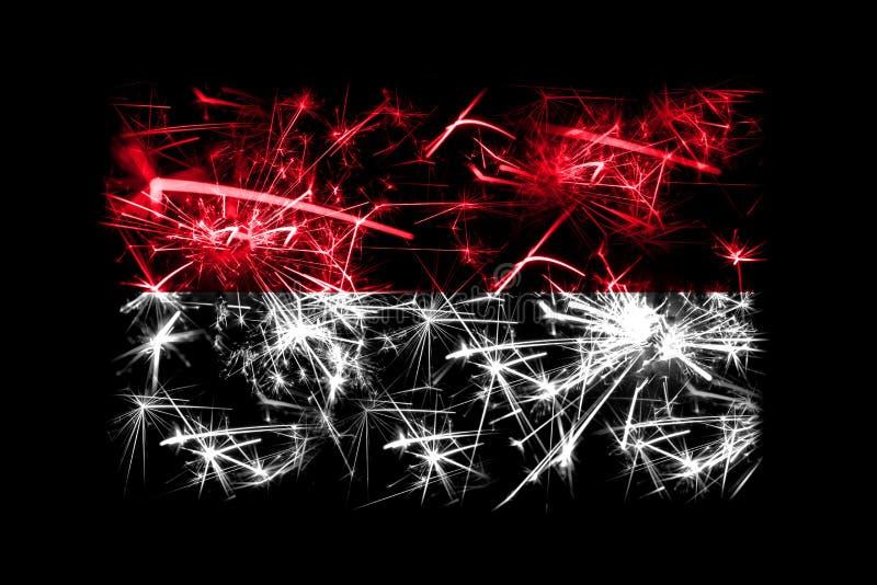 Monaco fyrverkerier som mousserar flaggan Partibegrepp för nytt år 2019 och jul vektor illustrationer