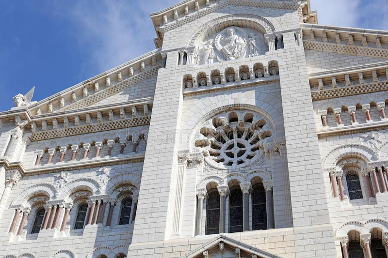 Monaco church French riviera, Côte d`Azur, mediterranean coast, Eze, Saint-Tropez, Cannes. Blue water and luxury yachts. Monaco Grand Prix Formula one French royalty free stock image