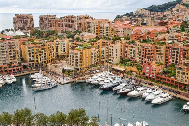 Monaco hamn Fontvieille royaltyfri foto