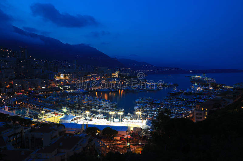 Monaco Harbour. In the evening. Top view stock photos
