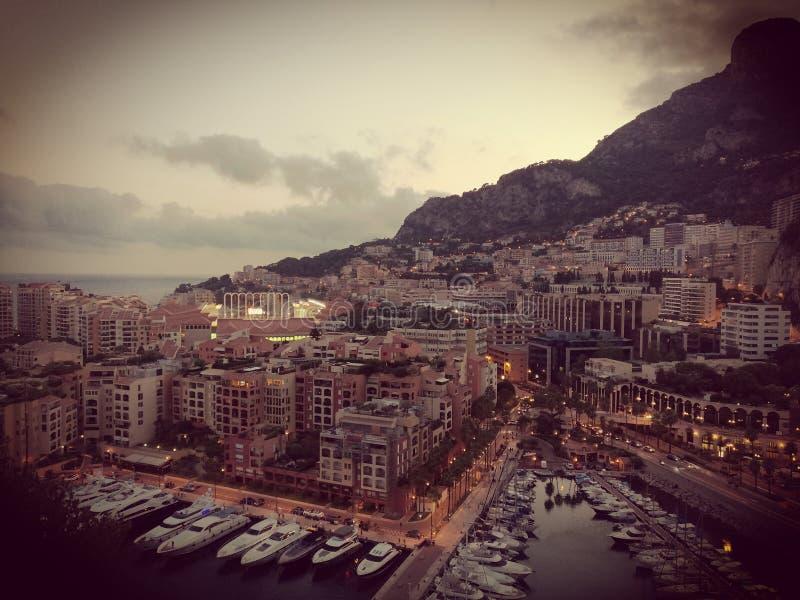 Monaco. The Hercule& x27;s Port of Monaco and Stadium Louis II stock photos