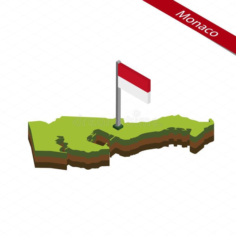 Monaco isometrisk översikt och flagga också vektor för coreldrawillustration vektor illustrationer