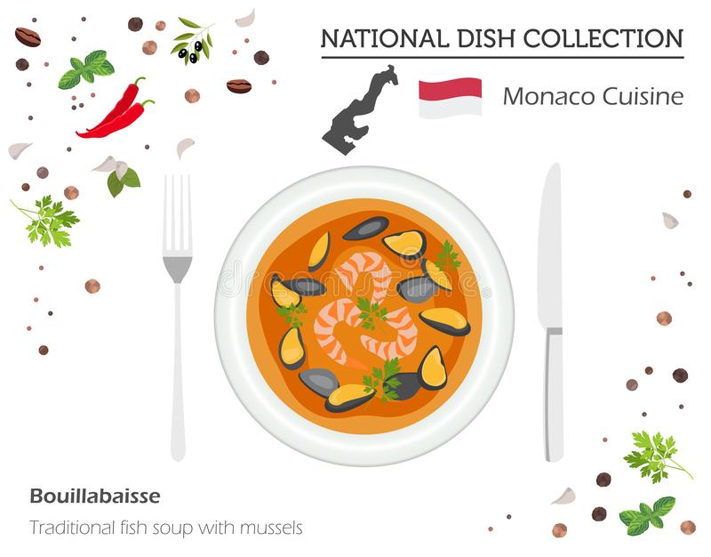 Monaco kokkonst Europeisk nationell maträttsamling traditionellt vektor illustrationer