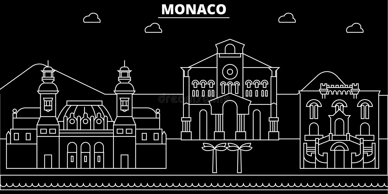Monaco konturhorisont, vektorstad, monacan linjär arkitektur, byggnader Monaco loppillustration, översikt vektor illustrationer