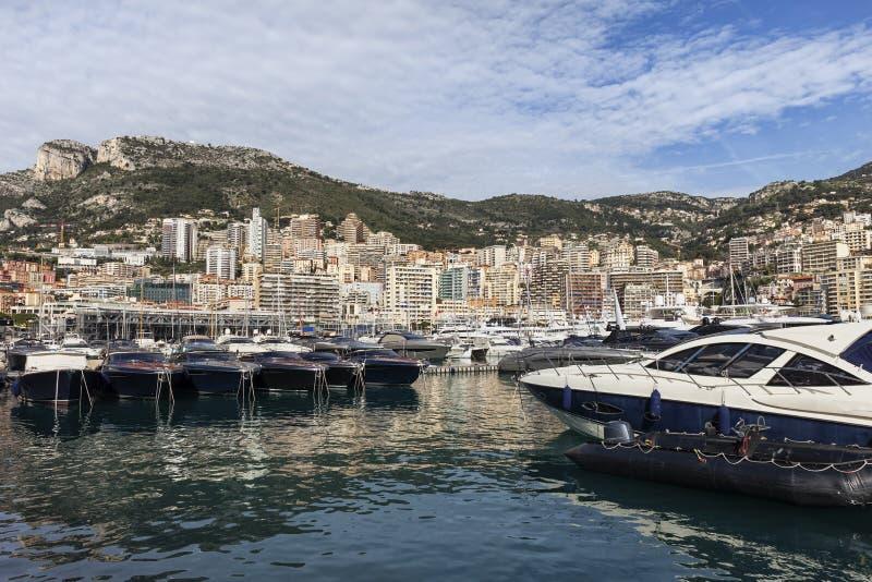 Monaco linia horyzontu Od portu obrazy royalty free