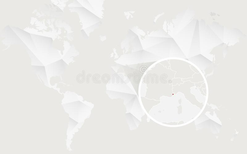 Monaco map with flag in contour on white polygonal World Map royalty free illustration