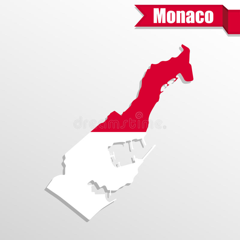 Monaco map with flag inside and ribbon stock illustration