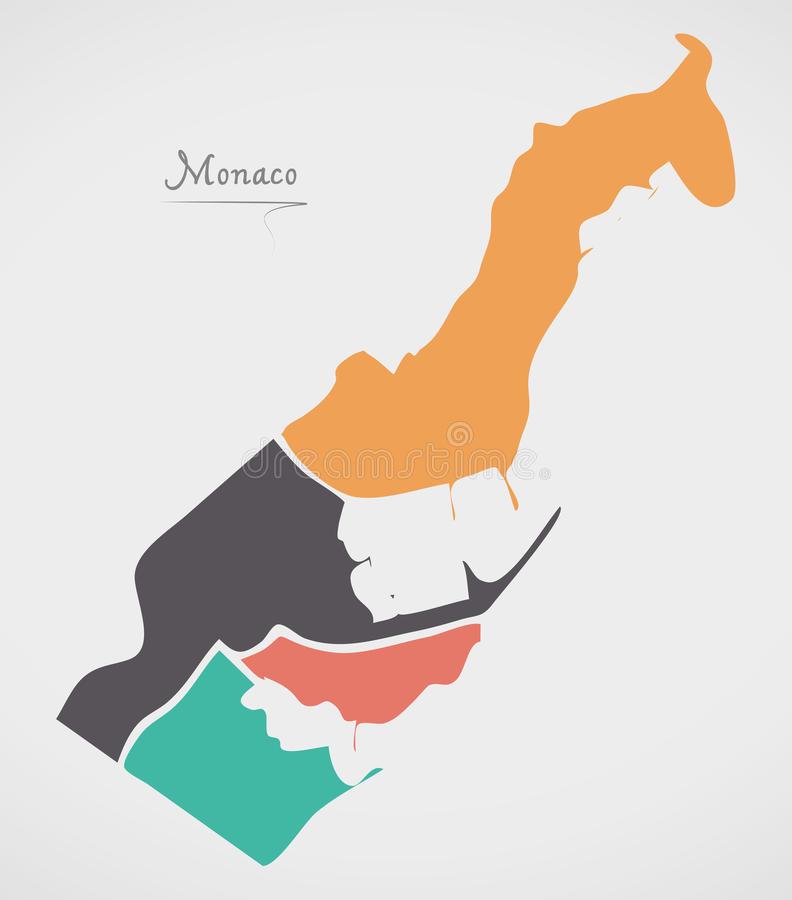 Monaco Map with states and modern round shapes. Illustration royalty free illustration