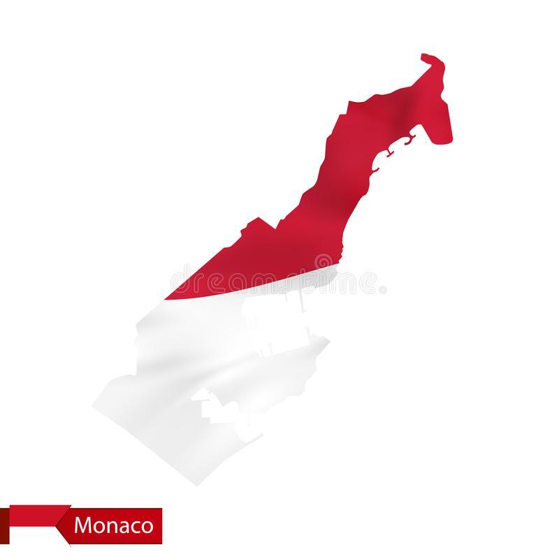 Monaco map with waving flag of Monaco. stock illustration