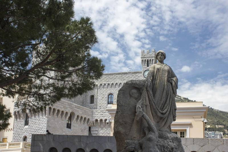 Statue dedicated to Prince Albert in Monte Carlo. MONACO, MONTE CARLO - APRIL 25 2017: Statue dedicated to Prince Albert in Monte Carlo, facing the royal palace stock photos