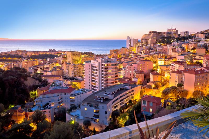 Monaco and Monte Carlo cityscape sunset view royalty free stock photography