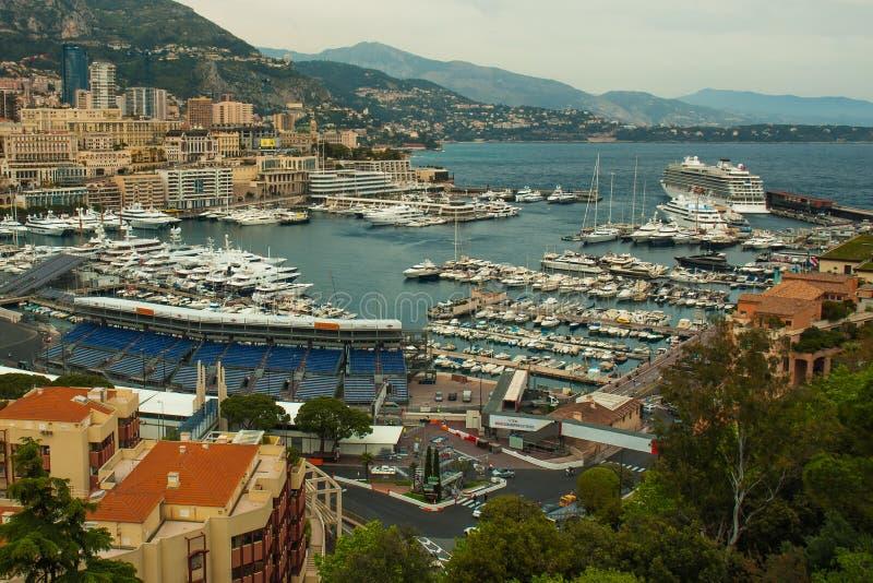 Monaco, Monte Carlo Panoramic-Ansicht der Stadt lizenzfreies stockbild