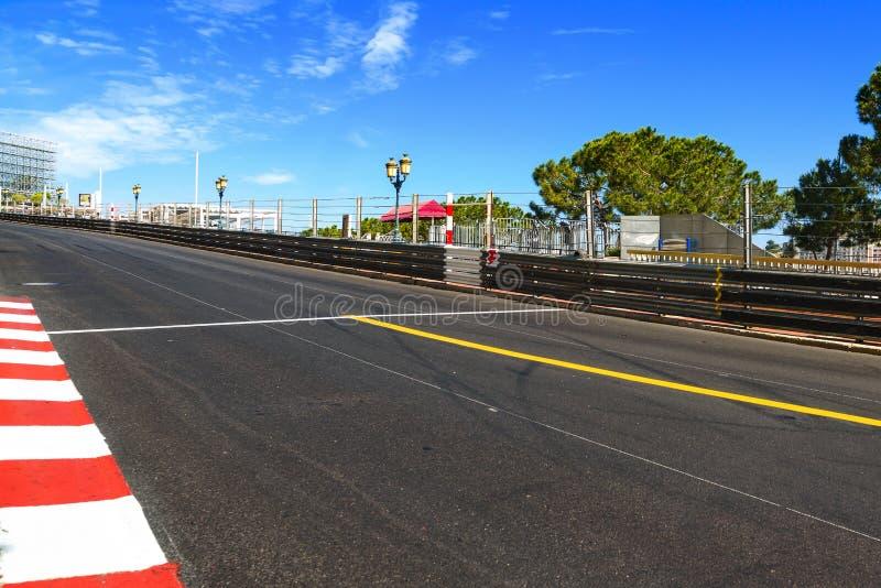 Monaco, Monte - Carlo Sainte devota o asfalto reto da raça, grande imagens de stock royalty free