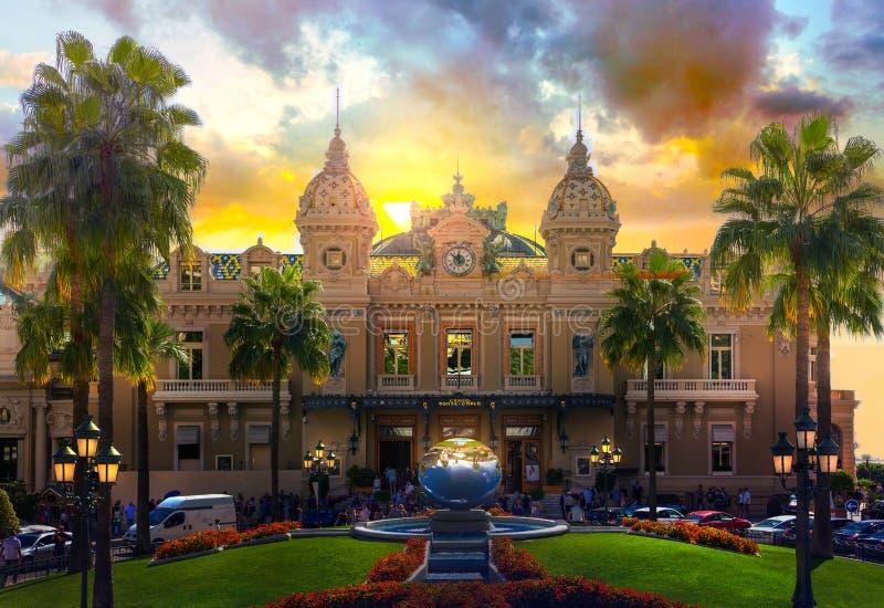 Monaco, Monte Carlo,  The Grand casino Monte Carlo at sunset. stock photos