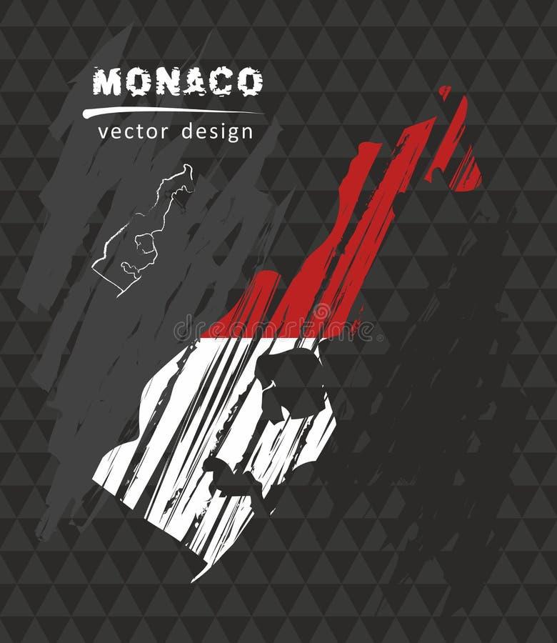 Monaco national vector map with sketch chalk flag. Sketch chalk hand drawn illustration royalty free illustration