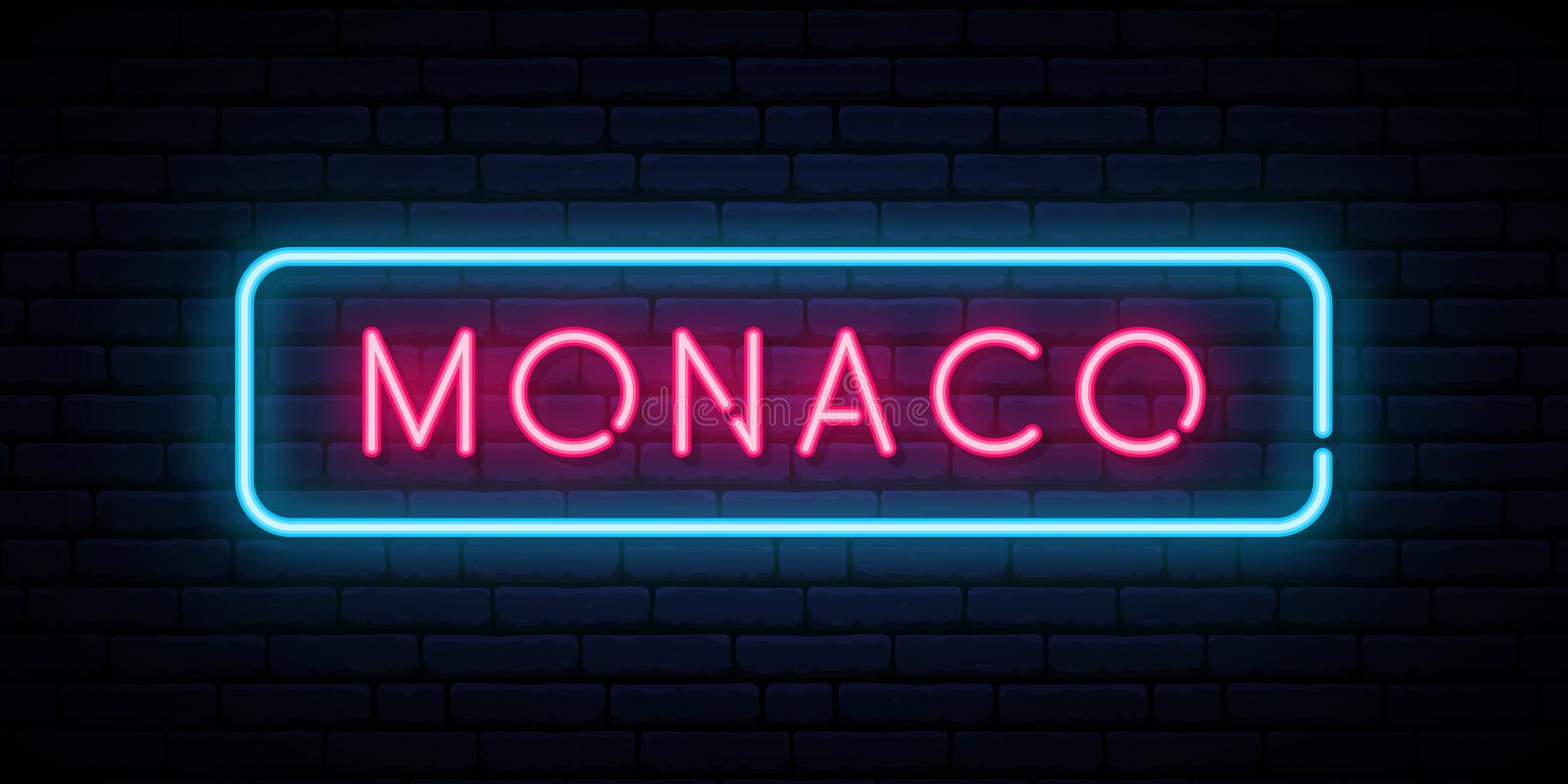 Monaco neontecken Ljus ljus skylt stock illustrationer