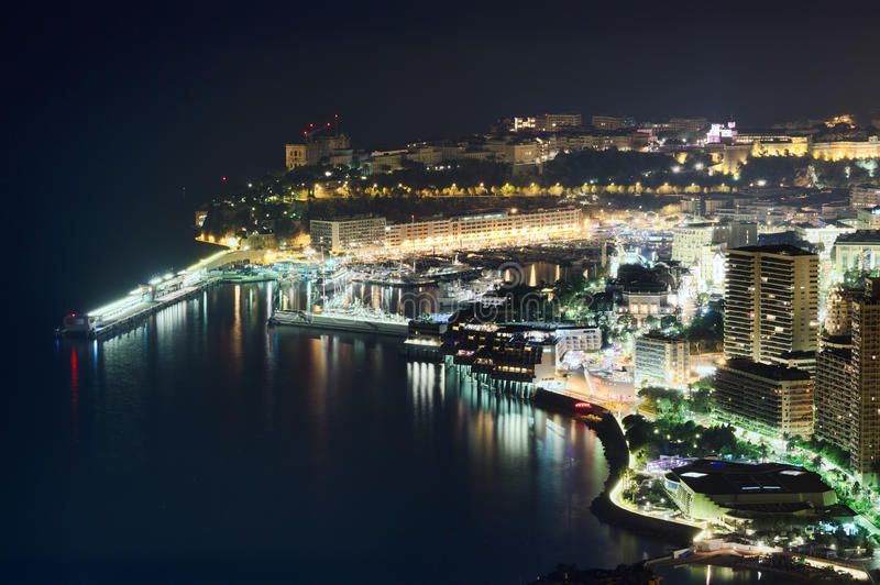 Monaco at night. Monaco, Monte Carlo port by night, aerial view royalty free stock image