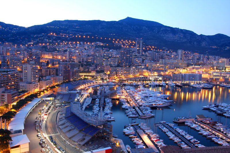 Monaco at night. View of Monaco at night royalty free stock photography