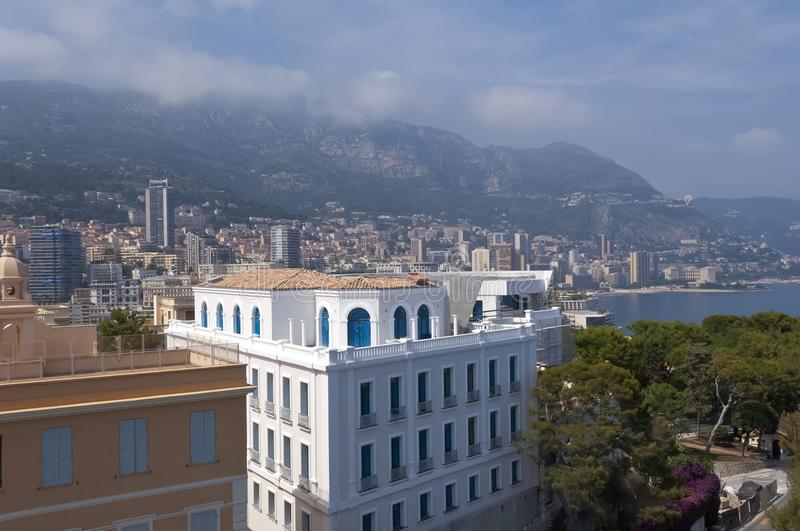 Monaco and Monte Carlo view from Monaco Ocean Museum royalty free stock photography