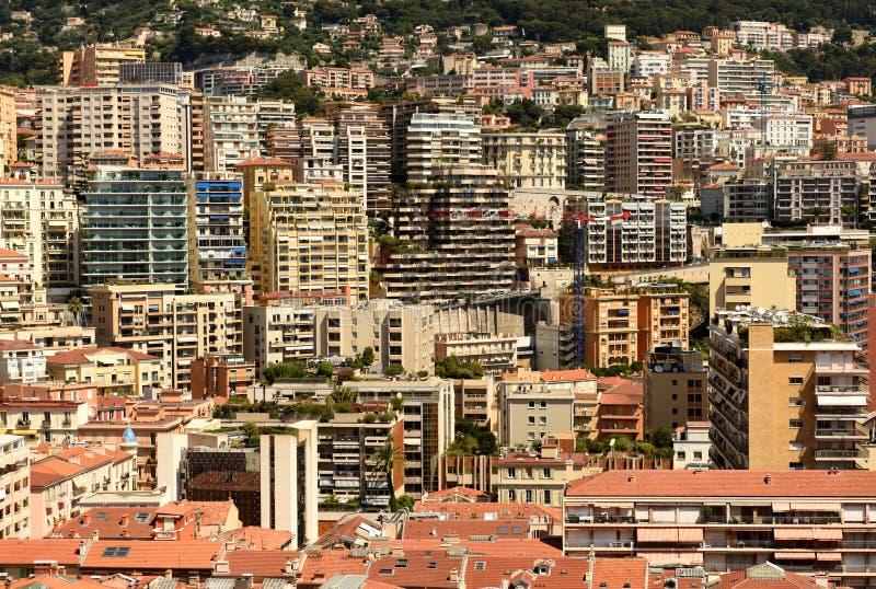 Monaco och Beausoleil fastighet, Cote d'Azur av franska Riviera royaltyfri fotografi