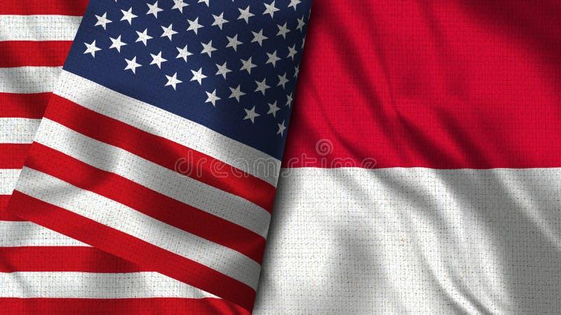 Monaco och USA sjunker - 3D flaggan för illustrationen två stock illustrationer