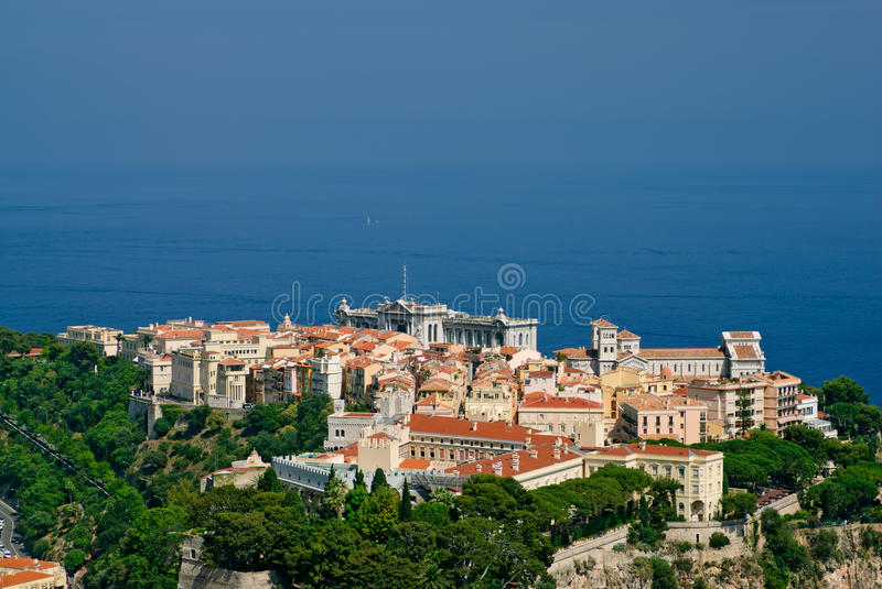 Monaco old town. Princely palace, Cathedral and Oceanography museum in Monaco old town royalty free stock photo