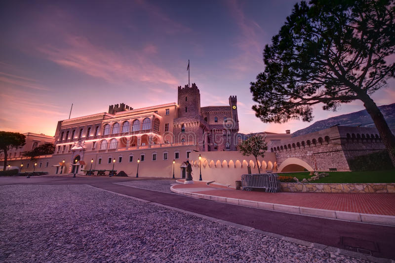 Monaco palace. Sunset at Prince's Palace in Monaco stock photos