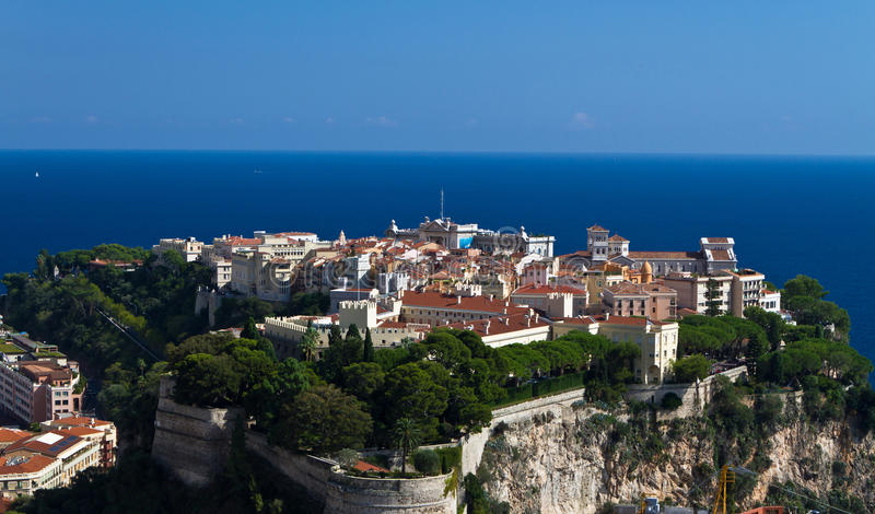 Monaco Palace. Panoramic view of Monaco with palace (Chateau Grimaldi), old town, cathedral and Oceanography museum stock photo