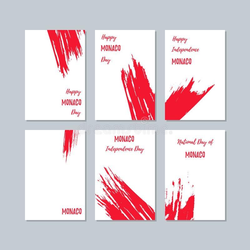 Monaco patriotiska kort för nationell dag royaltyfri illustrationer