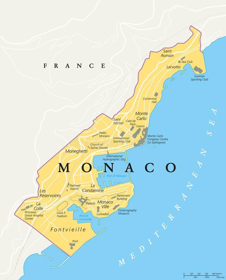Monaco politisk översikt stock illustrationer