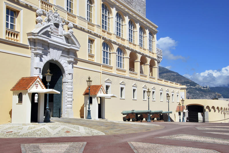 Monaco Prince Palace. In Monte Carlo. Antique fortress in Monaco royalty free stock photo