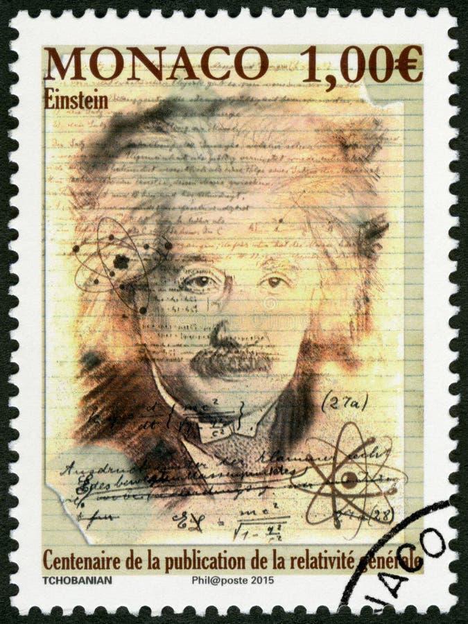 MONACO - 2015: przedstawienia Albert Einstein 1879-1955, fizyk zdjęcie royalty free