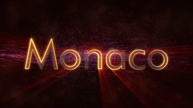 Monaco - skinande kretsa animering för text för landsnamn royaltyfri illustrationer