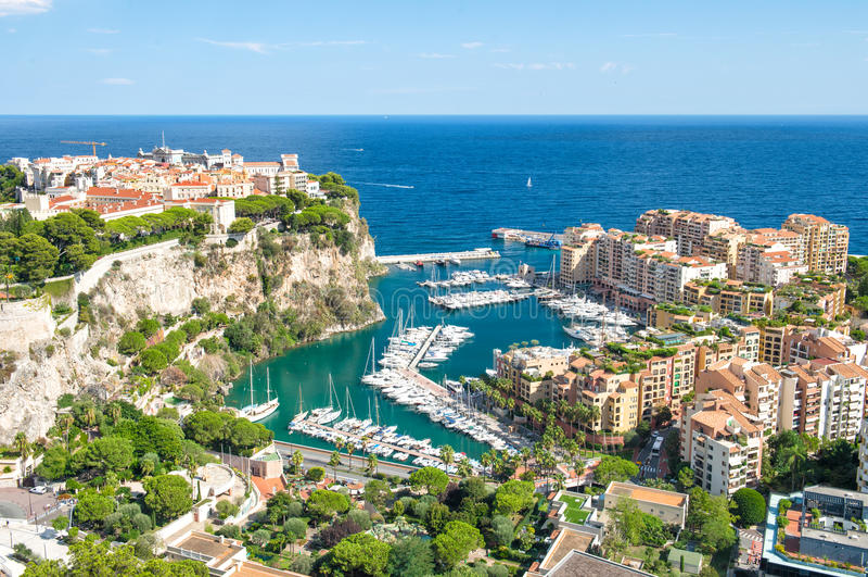 Monaco slottmedelhav franska riviera royaltyfri fotografi