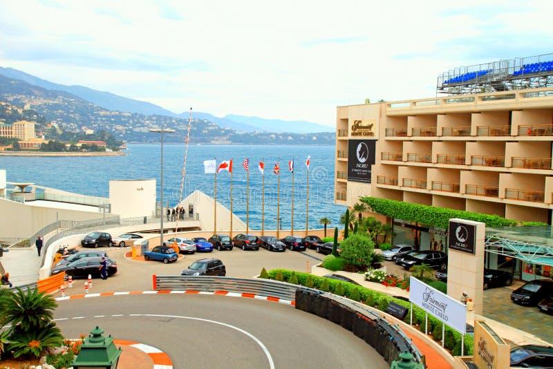Monaco street and Fairmont Hotel in Monte Carlo. MONTE CARLO, MONACO - MAY 15, 2013: Monaco street and Fairmont Hotel before the races of Formula 1 Grand Prix de stock photos