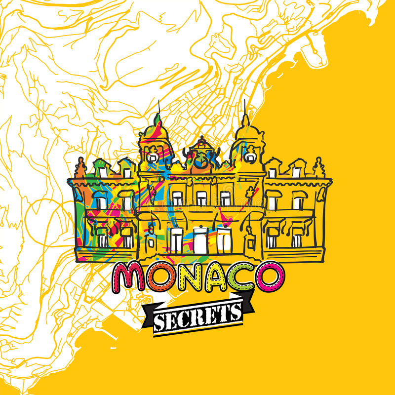 Monaco Travel Secrets Art Map Stock Vector Illustration of monaco