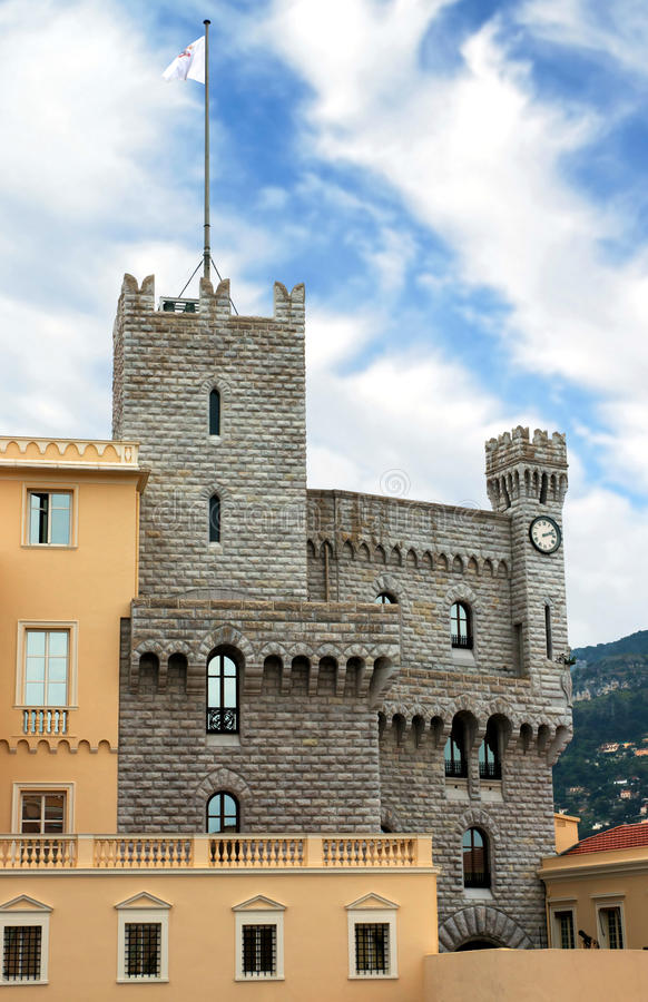 Monaco - Turret of Royal Palace. Turret of Royal Palace - Chateau Grimaldi in Monaco stock image