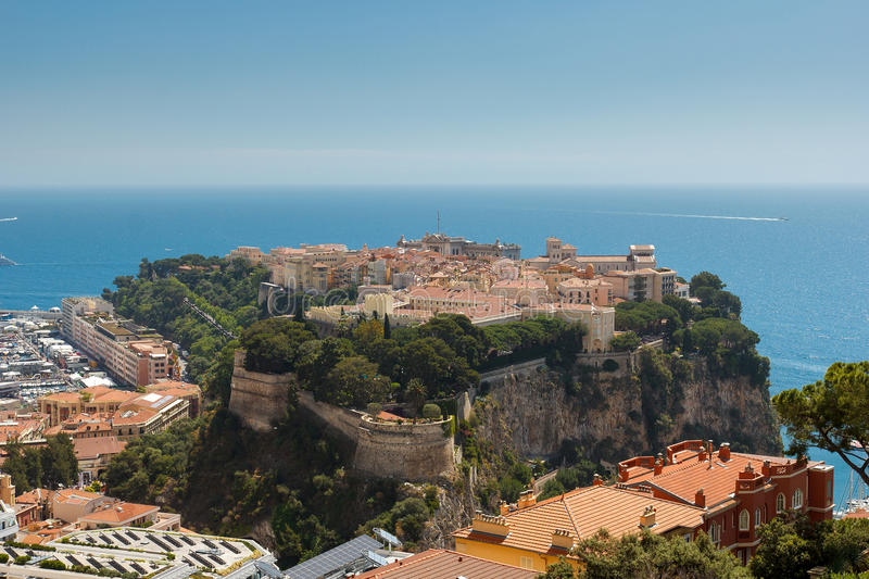 Monaco. View of Monaco with palace Chateau Grimaldi, old town le rocher royalty free stock images