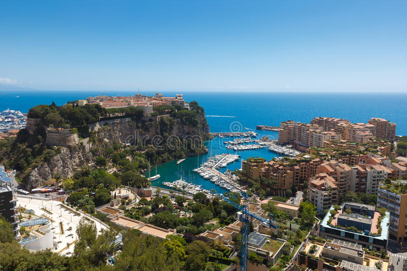 Monaco. View of Monaco with palace Chateau Grimaldi, old town le rocher stock images