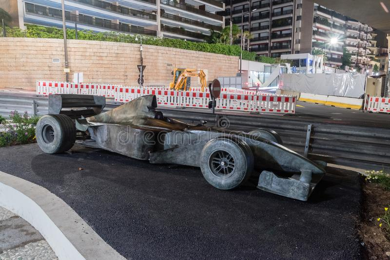 Bronze Formula one car near to the tunnel. Monaco-Ville, Monaco - June 2, 2019: Bronze Formula one car near to the tunnel royalty free stock images