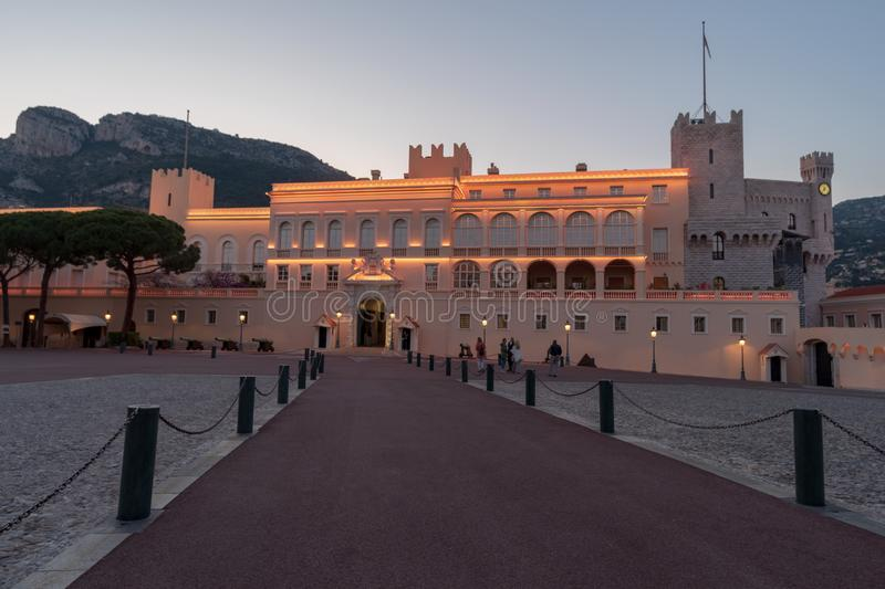 Prince`s Palace of Monaco. Evening view of the Prince`s Palace - is the official residence of the Prince of Monaco royalty free stock images