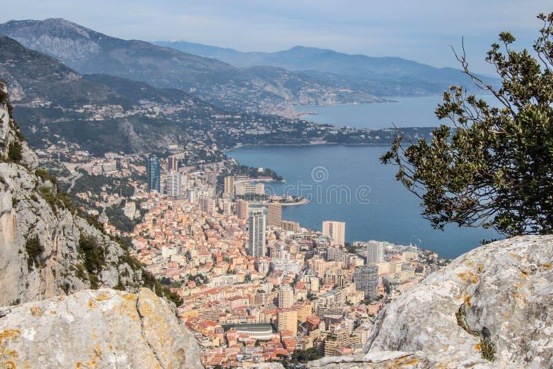 Monaco von den Himmelansichtbergen Monte Carlo stockfotografie