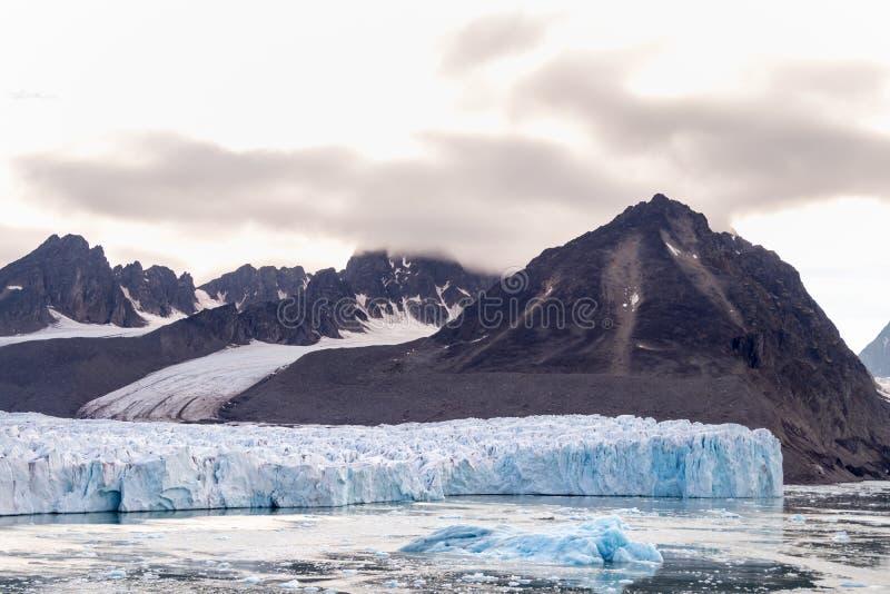 The Monacobreen - Monaco glacier in Liefdefjord, Svalbard, Norway. Detail of the Monacobreen Glacier at Liefdefjord, Svalbard, Norway royalty free stock photography