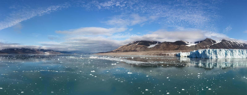 The Monacobreen - Monaco glacier in Liefdefjord, Svalbard, Norway. The Monacobreen Glacier at Liefdefjord, Svalbard, Norway stock photo